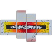 Omax Decor Hand Painted ''Urban Equalizer'' 4 Piece on Canvas Set