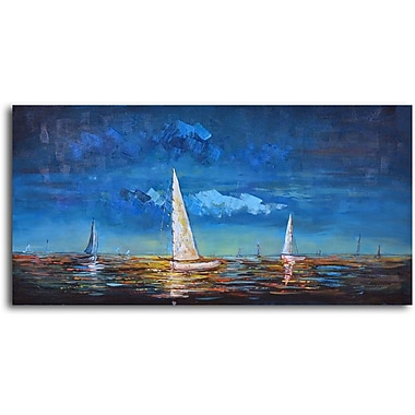 Omax Decor 'Sailing at Dusk' Oil Original Painting on Canvas