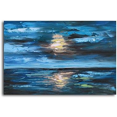 Omax Decor 'Setting Sun over Undulating Seas' Oil Original Painting on Canvas