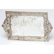 Abigails Vanity Tray with Faux Antique Mirror Surface; Silver Leaf