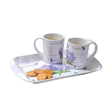 Shall Housewares Hydrangea 3 Piece Serving Tray Set
