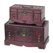 Quickway Imports Antique Wooden Trunk, Old Treasure Trunk (2 Piece Set)