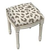 123 Creations Animal Print Cheetah Linen Upholstered Vanity Stool; Smoky Gray