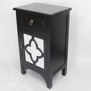 Heather Ann Wooden Cabinet with 1 Drawer and 1 Door; Black