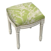 123 Creations Floral Botanical Linen Upholstered Vanity Stool