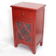Heather Ann Wooden Cabinet with 1 Drawer and 1 Door; Red