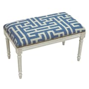 123 Creations Graphic Upholstered and Wood Bench; Navy