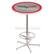 Holland Bar Stool Corvette - C6 Pub Table; Silver / Red