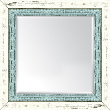 Melissa Van Hise Framed Mirror; French White and Blue