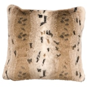 Wooded River Snow Lynx Fur Faux Fur Throw Pillow