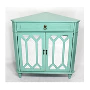 Heather Ann Wooden Corner Cabinet with 1 Drawer and 2 Doors; Green