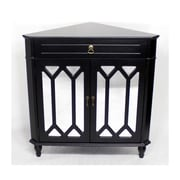 Heather Ann Wooden Corner Cabinet w/ 1 Drawer and 2 Doors; Black