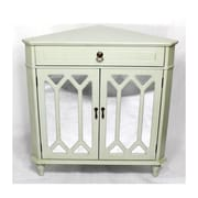 Heather Ann Wooden Corner Cabinet with 1 Drawer and 2 Doors; Light Green