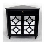 Heather Ann Wooden Corner Cabinet with 1 Drawer and 2 Doors; Black