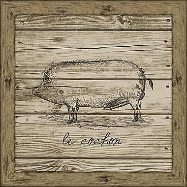 Melissa Van Hise Hog (Wood Planks) Framed Graphic Art