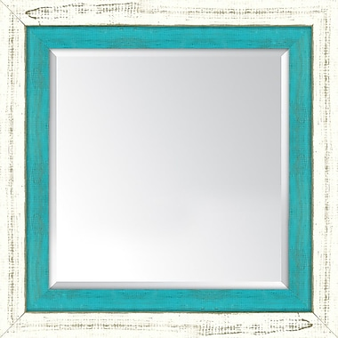 Melissa Van Hise Framed Mirror; French White and Turquoise