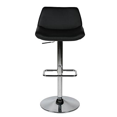 Whiteline Imports Maya Adjustable Height Bar Stool with Cushion; Black