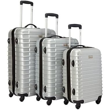 McBRINE Light Weight Polycarbonate 3 Piece Luggage Set, Silver