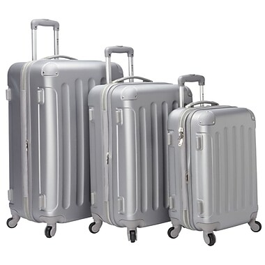 McBRINE Eco Friendly 3-Piece Luggage Set, Silver