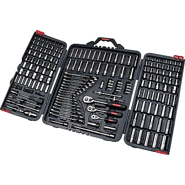 Aurora Tools Drive S.A.E./Metric Socket and Wrench Set, 210-Piece, 1/4