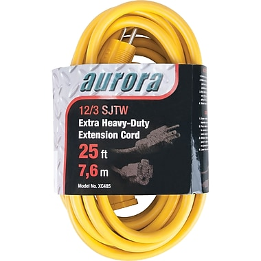 Aurora Tools Outdoor Vinyl Extension Cords, Extra Heavy-Duty, 25'