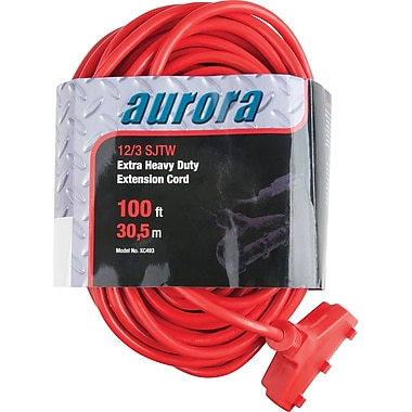 Aurora Tools Outdoor Vinyl Triple Tap Extension Cords, Extra Heavy-Duty, 100'