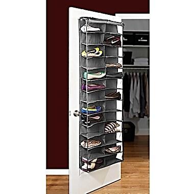 Bell+Howell Over the Door Shoe Organizer, 26 pairs- Grey