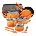 Rachael Ray Hard Enamel Nonstick 14 Piece Cookware Set; Orange