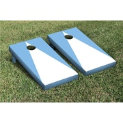 Victory Tailgate Triangle Matching No Stripe Version 2 Cornhole Boards Game Set; White / Light Blue