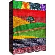 Green Leaf Art Mountain View I Painting Print Plaque