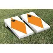 Victory Tailgate Diamond Matching No Stripe Version 1 Cornhole Boards Game Set; White / Orange