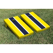 Victory Tailgate Striped Matching Version 1 Cornhole Boards Game Set; Bright Yellow / Navy Blue