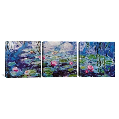 iCanvas Nympheas by Claude Monet 3 Piece Painting Print on Wrapped Canvas Set