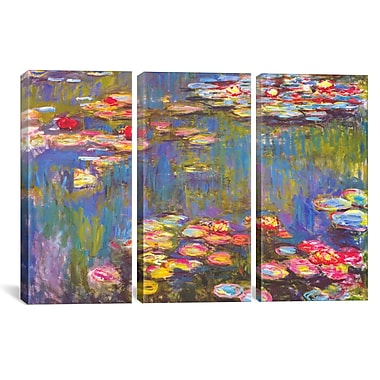 iCanvas Water Lilies by Claude Monet 3 Piece Painting Print on Wrapped Canvas Set