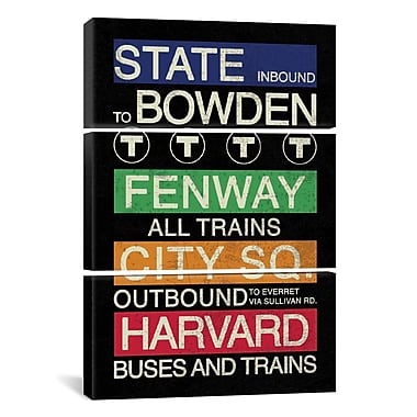 iCanvas Erin Clark Boston 3 Piece Textual Art on Wrapped Canvas Set; 60'' H x 40'' W x 0.75'' D