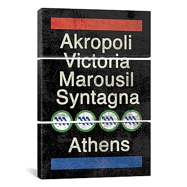 iCanvas Erin Clark Athens 3 Piece Textual Art on Wrapped Canvas Set; 90'' H x 60'' W x 1.5'' D
