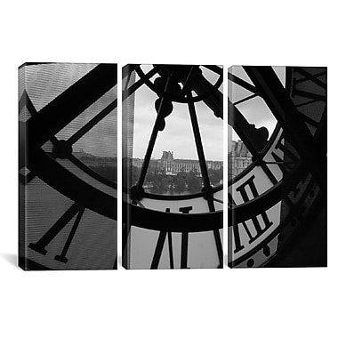 iCanvas Clock Tower In Paris 3 Piece Photographic Print on Wrapped Canvas Set