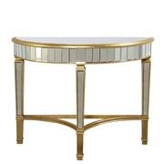Elegant Lighting Florentine Half Moon Console Table; Gold & Clear Mirror