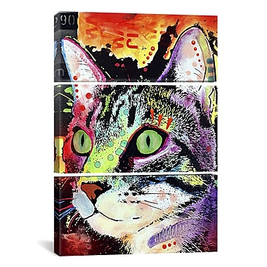 iCanvas Dean Russo Curiosity Cat 3 Piece on Wrapped Canvas Set; 90'' H x 60'' W x 1.5'' D