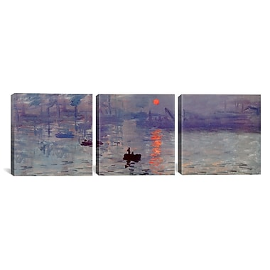 iCanvas Sunrise Impression by Claude Monet 3 Piece Painting Print on Wrapped Canvas Set