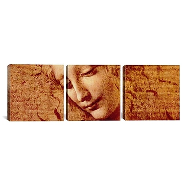 iCanvas Female Head by Leonardo da Vinci 3 Piece Painting Print on Wrapped Canvas Set