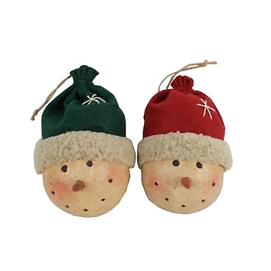 Craft Outlet Snowman Heads w/ Fabric Beanie Ornament (Set of 6)