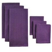 Design Imports 6 Piece Heavyweight Dish Towel & Dish Cloth Set; Eggplant