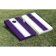 Victory Tailgate Striped Alternating Cornhole Boards Game Set; White / Purple