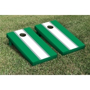 Victory Tailgate Striped Matching Version 2 Cornhole Boards Game Set; White / Light Green