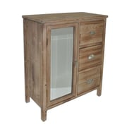 Cheungs 3 Drawer Wood Chest with Mixed Knobs and Bevelled Mirrored Door