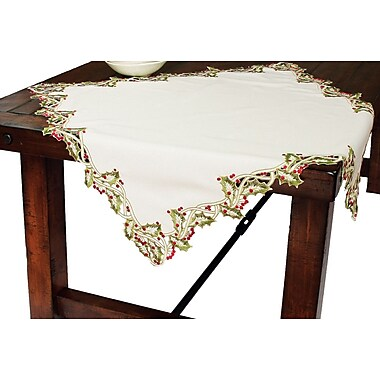 Xia Home Fashions Holiday Holly Embroidered Cutwork Table Topper; White