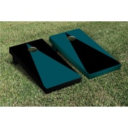 Victory Tailgate Triangle Alternating No Stripe Cornhole Boards Game Set; Midnight Green / Black