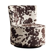 Kingstown Home Alfosa Cow Hide Print Swivel Accent Chair