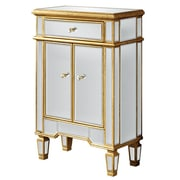 Elegant Lighting Florentine 1 Drawer 2 Door Cabinet; Gold & Clear Mirror